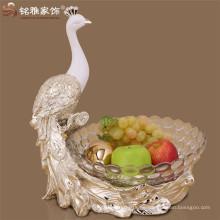 Promotion Preis Haushalt dekorative Ware Harz Pfau Form Obst Platte Obst Tablett