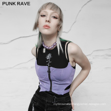 Punk style women tops spring clothes strap sleeveless hollow up metal zipper sexy PU top vest OPT-574DWF lady clothing PUNK RAVE