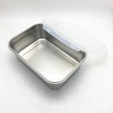 Recipiente de armazenamento hermético de aço inoxidável retangular reutilizável para alimentos