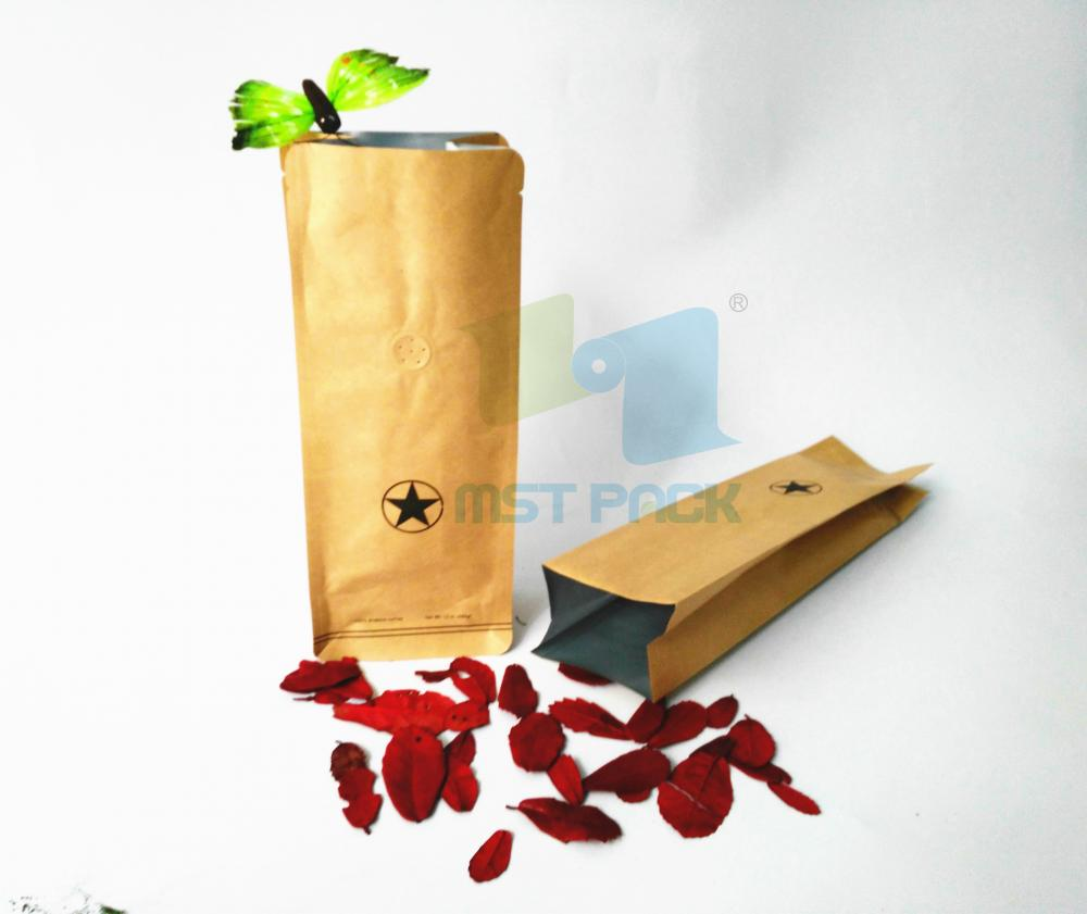Kraft Paper Coffee Bag with Degassing Valve