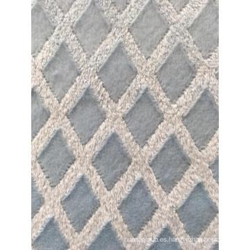 Tejido de lana suave con estampado floral de corte azul
