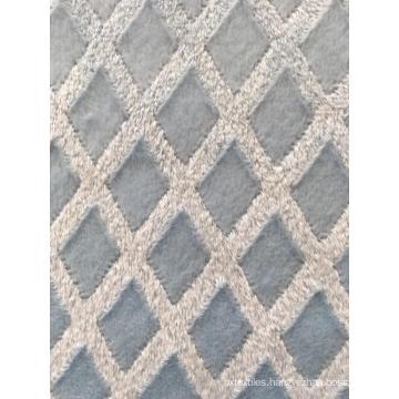 Blue cutting floral print soft fleece fabric