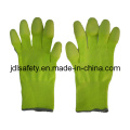 Hi Viz Yellow Work Glove with PU Finger Coated (PN8019)