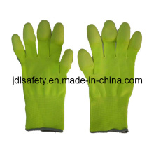 Hi Viz Yellow Work Glove with PU Finger Coated (PN8019)