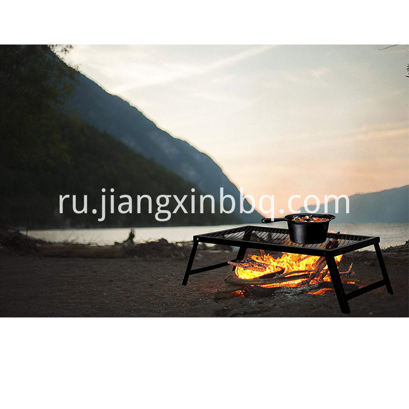 Portable Campfire Grill Stand With Folding Legs Bbq View