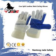 Anti-Scratch Blue Industrial mano de seguridad de cuero de vaca guante de trabajo de cuero