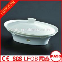 Restaurante de hotel de alta qualidade chinês tradicional oval porcelana tureen sopa tigela