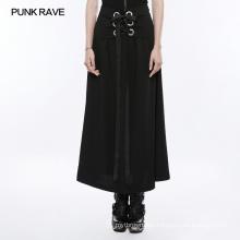 OPQ-258 PUNK RAVE Wash silk girls skirt long women summer black dark skirt casual skirt