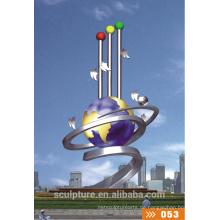 Moderne große Kunst Abstrakt Edelstahl Licht Ball Skulptur für Outdoor Dekoration