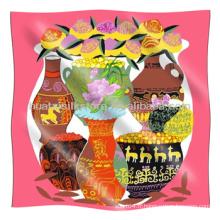 Petite écharpe carrée Style chinois Vase Pattern Petite écharpe carrée