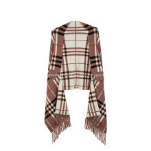 Poncho de tela escocesa con borlas, jacquard, chal, capa, suéter