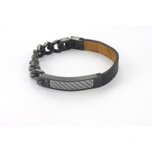 Design de mode en cuir véritable noir avec bracelet en chaîne