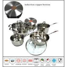 10PCS Stainless Steel Cookware Set Impact Bottom with Copper Core