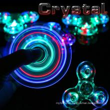 Neue Kristall LED Hand Zappeln Klar Blitzlicht EDC Finger Tri Spinner Für Autismus ADHS Relief Fokus Angst Stress Entspannen Geschenk Spielzeug