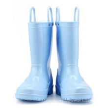 Kids New Fashion Blue Color Waterproof Nature Material Rain Boots Easy-on Handles Shoes