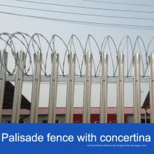 Heißer DIP Galvanisierter Stahl Palisade Zaun / Puder beschichteter Palisadenzaun