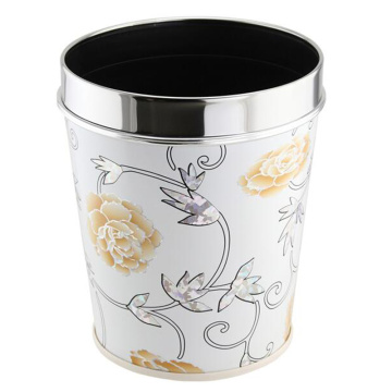 Fashion Leatherette Design Stainless Steel Top Rim Trash Bin