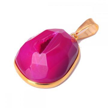 Полудрагоценный камень Фиолетовый агат Ожерелье с подвеской