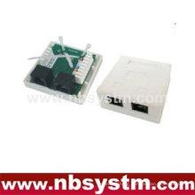 2 ports Surface Box UTP Cat5e RJ45 + RJ11 PCB jack