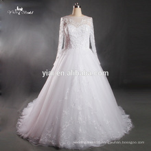 RQ133 2015 Alibaba Bridal Grow Lace Embroidery A Line Long Tail Wedding Dress Sheer Back 2016