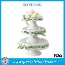 Hochzeit 3 Tier Keramik Kuchen Stand mit Ribbon Dekorieren Kuchen
