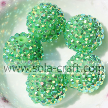 Green AB Resin Rhinestone Chunky Beads Bracelet Necklace DIY 18*20MM