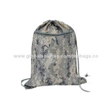 Simple design promotional drawstring bag, with reflective fabric at bottom cornerNew