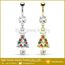 El último anillo del vientre del ombligo del anillo del oro del plata del árbol de navidad del diseño de China