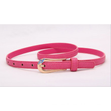 Fashion woman PU waist belt with stone attached buckle