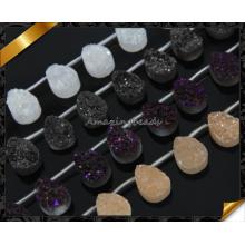 Natural Druzy Agate Stone Teardrop Forme avec Top Foré, Drzuy Stone Natural Druzy Cabochon Agate Gemme Druzy Flat Druzy (YAD0101)