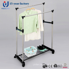 Stainless Steel Double Pole Clothes Hanger with Mesh
