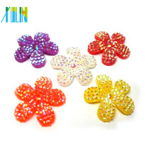 flat back flower shape resin rhinestone beads for hairpin making