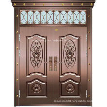 Double Leaf Decorative Window Exterior Steel Copper Glass Door (W-GB-03)