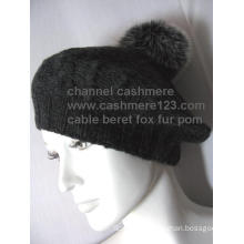 Cashmere Cable Hat Fur POM Ty0910