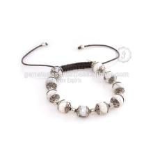 Fornecedor de atacado para jóias de pulseira de prata com pedras preciosas semi-preciosas artesanais