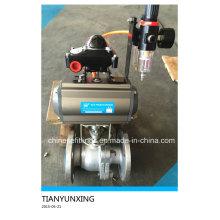 JIS Actuador neumático de brida estándar Válvula de bola de acero inoxidable