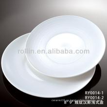 Plato plano de cerámica blanca especial de porcelana dura especial duradera