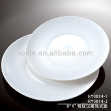 healthy special durable white porcelain flat round coupe plate