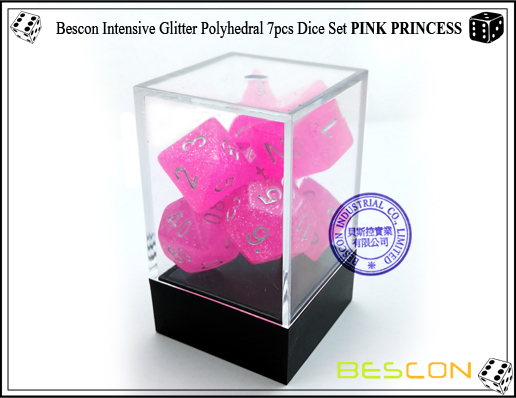 Bescon Intensive Glitter Polyhedral 7pcs Dice Set PINK PRINCESS-3