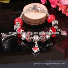 Gros perles de verre en argent braguettes féminines 2015 bracelet de charme