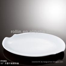 Gesundes, haltbares weißes Porzellan-Ofen Safe Platten Geschirr