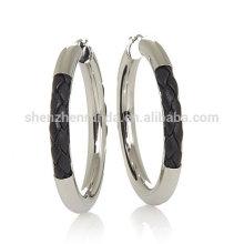 Grosso brinco de couro trançado brincos de aro de aço inoxidável para mulheres fornecedor de jóias