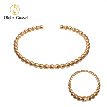 Simple Fashion Never Fade 18k Gold Plated Stainless Steel Cuff Bead Bangle Ring Women Jewelry Set