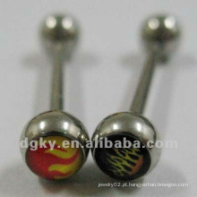 Aço cirúrgico epoxy logo língua barbell corpo piercing jóias