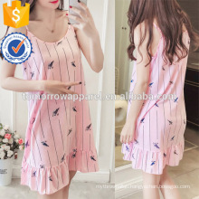 Multicolored Ruffle Spaghetti Strap Printed Sleepwear Dress Summer Pajamas Manufacture Wholesale Fashion Women Apparel (TA0003P)