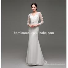 2016 novo design até o chão até lace slim-line bordado desenhos para vestido de noiva