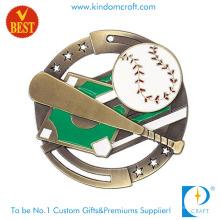 Alta qualidade preço barato Metal especial Design 3D Baseball medalha com escavar