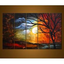Peinture à l'huile de toile de paysage fait à la main