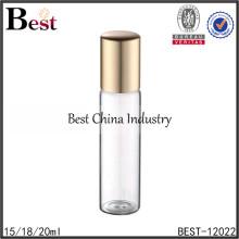 Rollo 18ml del perfume en las botellas con la bola de metal, botella de cristal del tubo del tornillo, proveedor de la botella de cristal del tubo ambarino