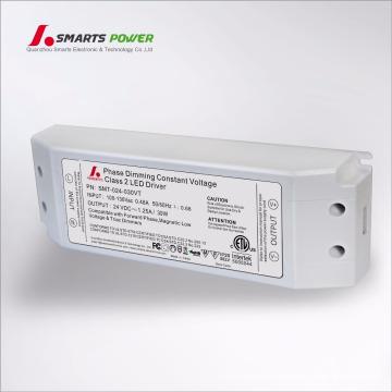 etl ul TRIAC/ELV dimmable 110vac 12/24vdc 30w led driver/transformer
